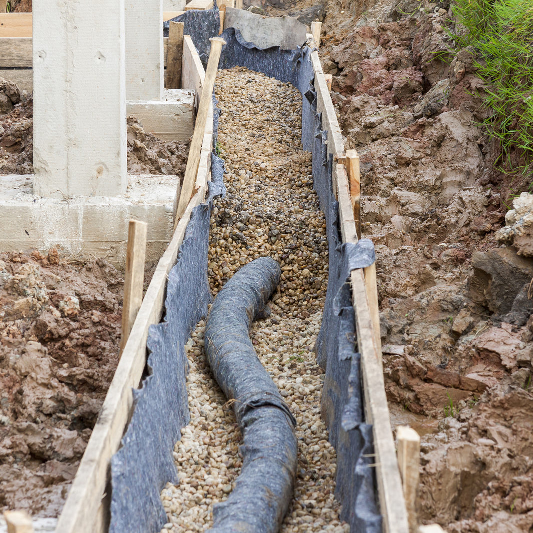 View on water protection -drainage. Construction site.